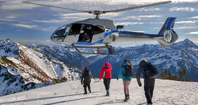 helicopter rental and snow